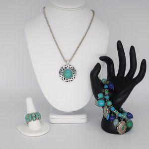 Boho 3 Piece Set - Necklace, Ring, and Bracelet